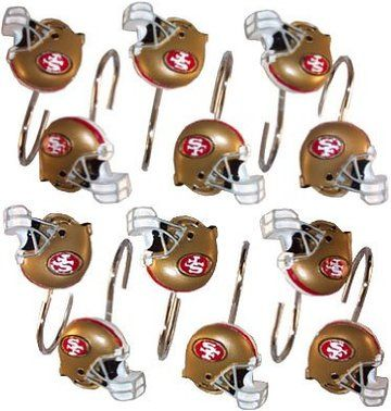 San Francisco 49ers NFL Set Of 12 Bathroom Shower Curtain Hooks Rings