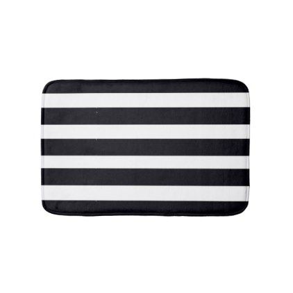 BATHROOM RUGS MATS Bath Rugs Black White Stripes Chic Gifts - Black and white striped bath mat for bathroom decorating ideas