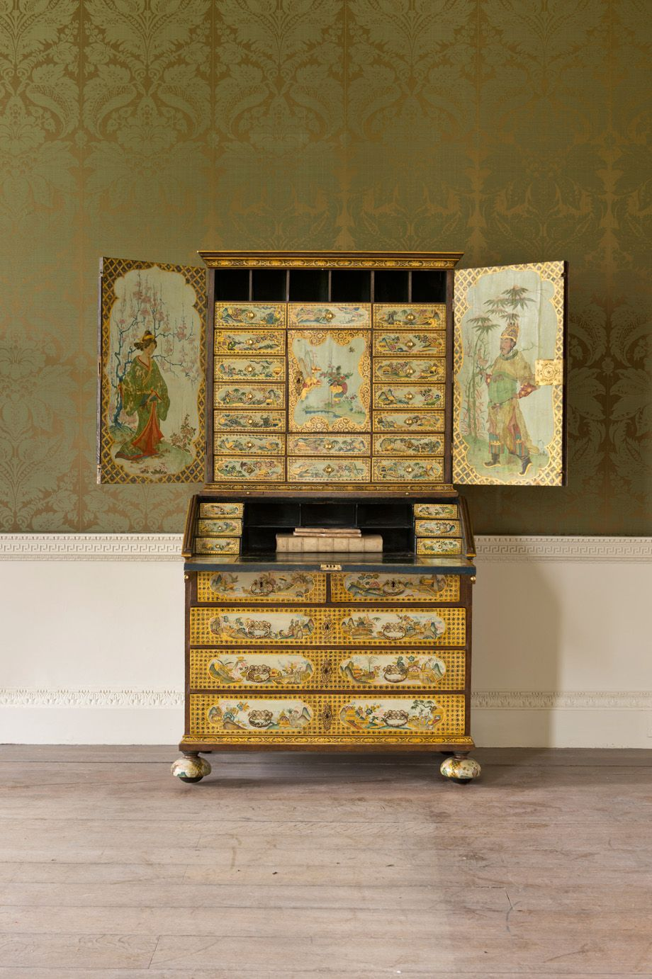 An Important German Cream Japanned Bureau Cabinet The Original