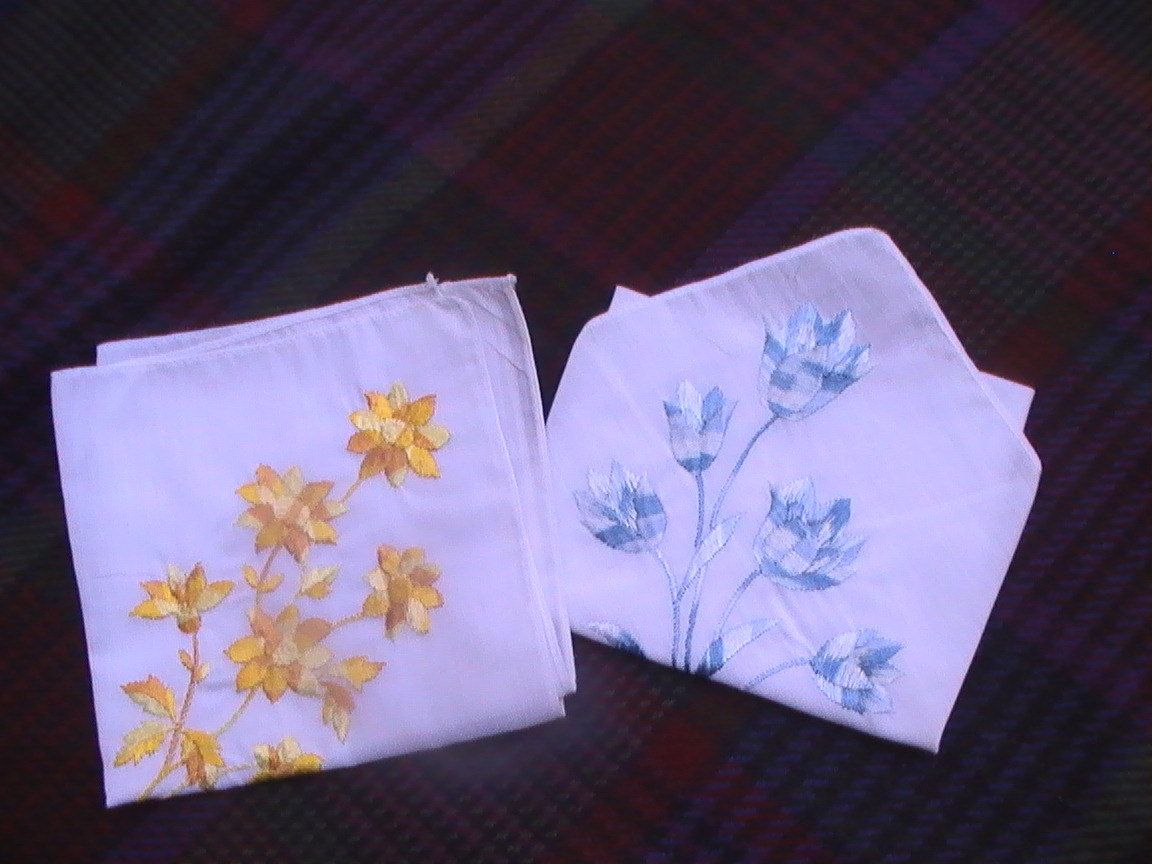 Vintage Embroidered Cotton Hankies with Blue and Gold Flowers. $8.00, via Etsy.