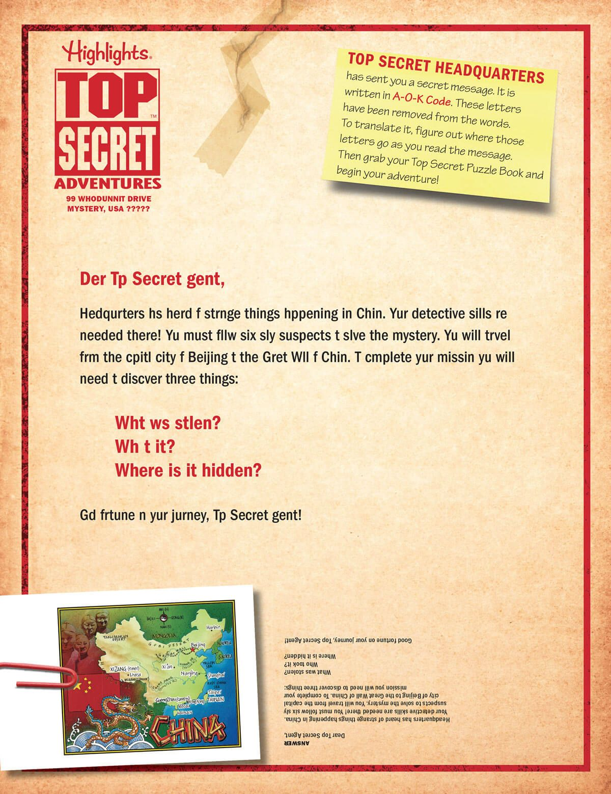 Top Secret Adventures China Mission Letter Opened