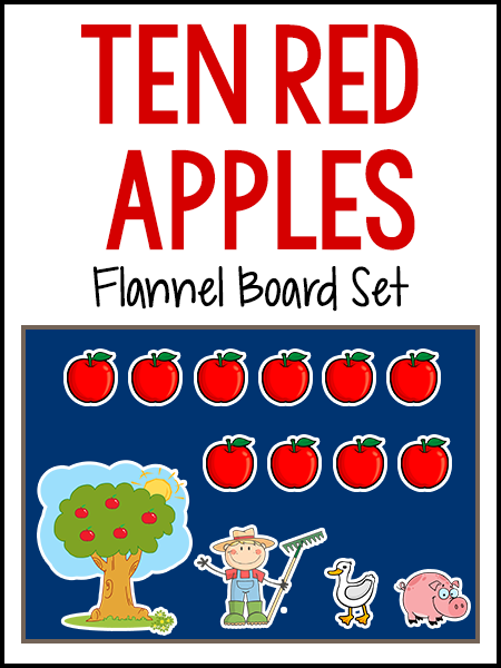 Here is a new flannel board set I made for the book Ten Red Apples, by Pat Hutchins. This is a counting book that would go well with an Apple theme or a Farm theme. To make these, I printed them on card stock paper, laminated and cut out, and added a Velcro tab to the back (the sticky side of the Velcro). These can be used on a flannel