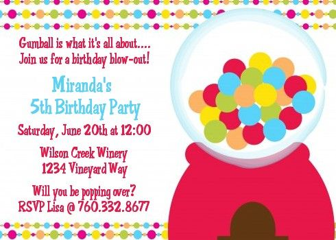 Gumball - Birthday Party Invitations Gumball, Party invitations - birthday party invitation format