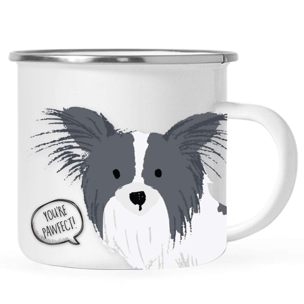 Amazon.com: Andaz Press 11oz. Stainless Steel Campfire Coffee Mug Gift, Black and White Papillon You're Pawfect!, Funny Dog Pun, 1-Pack, Novelty Hot Chocolate Birthday Christmas Cup Gift Ideas for Dog Lovers: Health & Personal Care