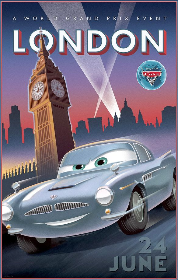 cars 2 vintage poster cars movies films dessins anim s pixar et voiture vintage. Black Bedroom Furniture Sets. Home Design Ideas