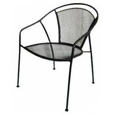 Commercial Grade Black Indoor Outdoor Steel Patio Arm Chair With