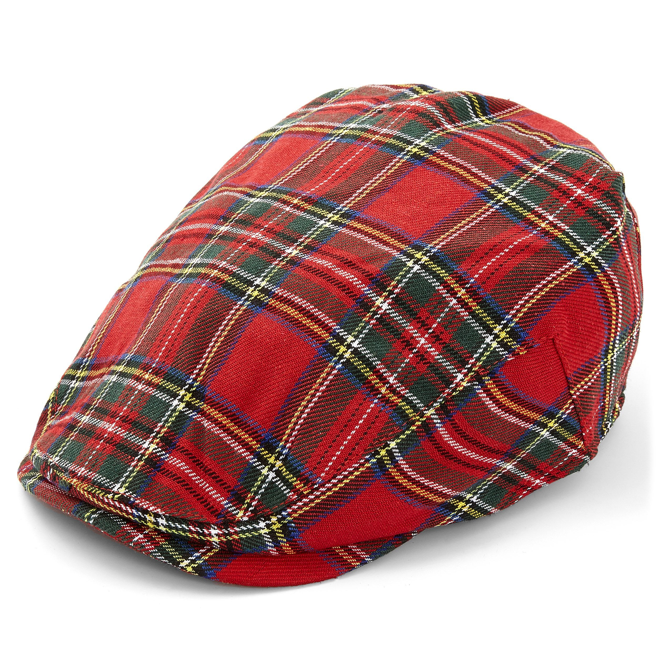 Red Wool Blend Tartan Flat Cap-Fully Lined-Classic Style and Pattern-Scottish