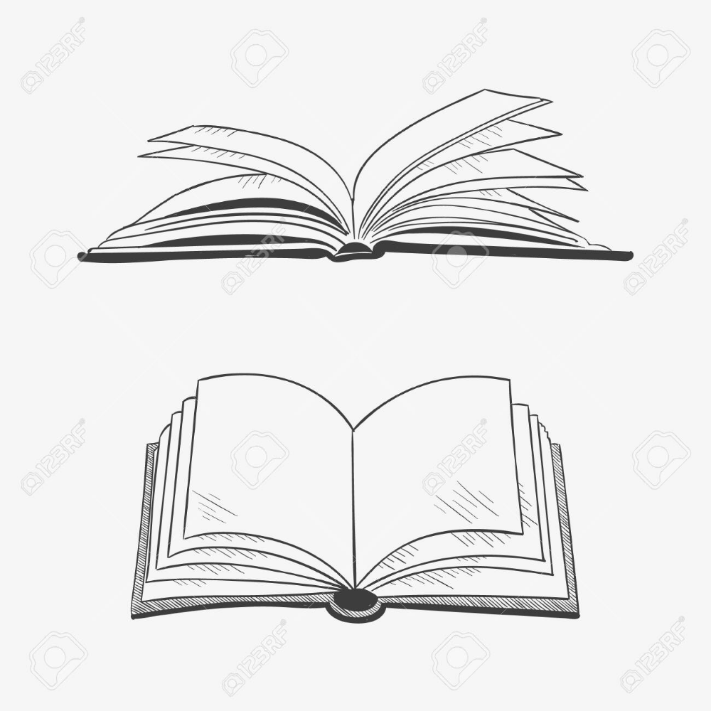 Open Book Isolated On White Background Vector Black Vintage Book Clip Art Book Silhouette Open Book Drawing