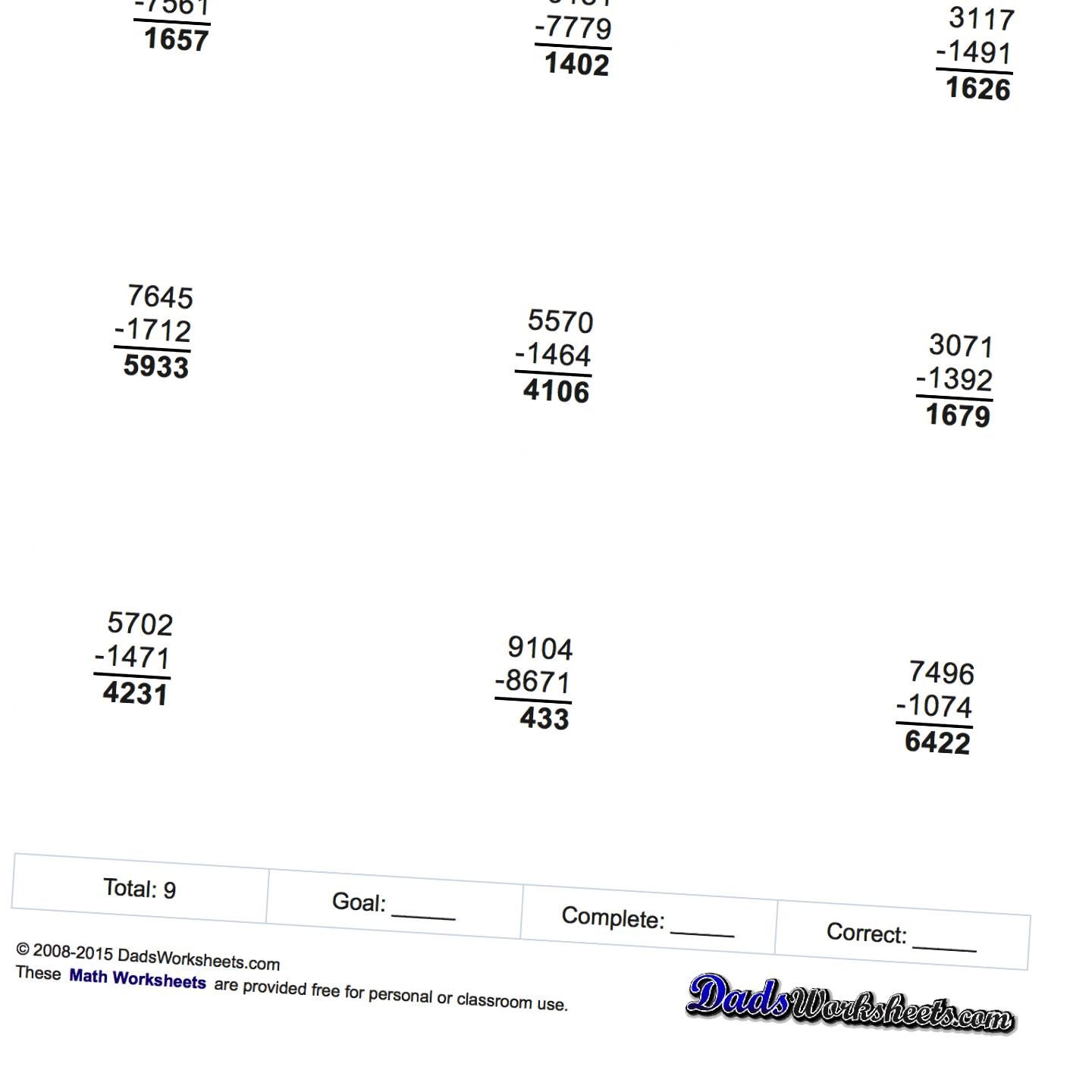 Subtraction Worksheets Full Borrowing