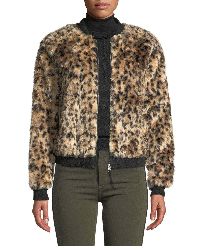 e0477142b Leopard Faux-Fur Bomber Jacket in 2019   My kind of style