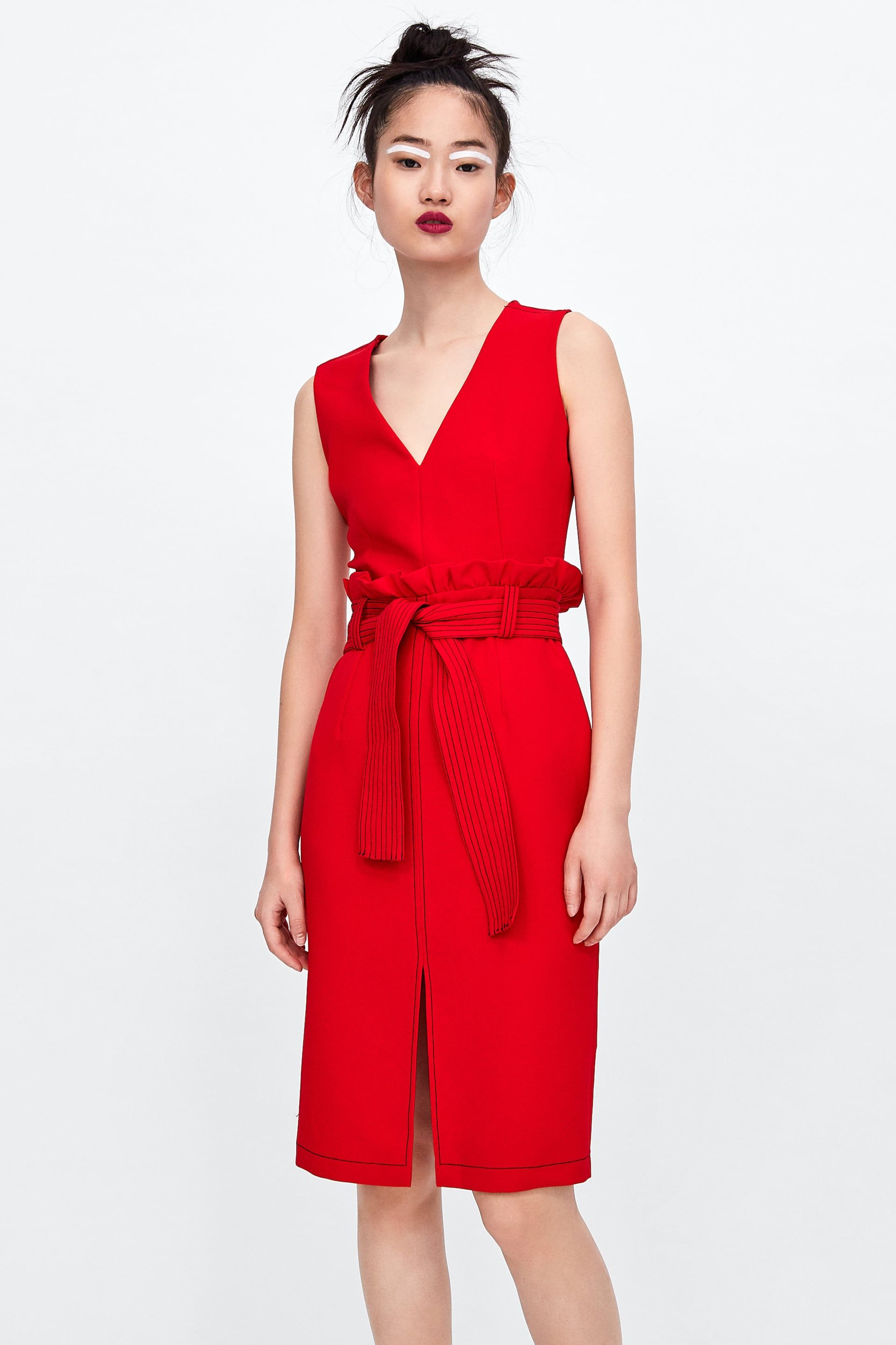 Image 1 of TOPSTITCHED DRESS WITH BELT from Zara | Dresses