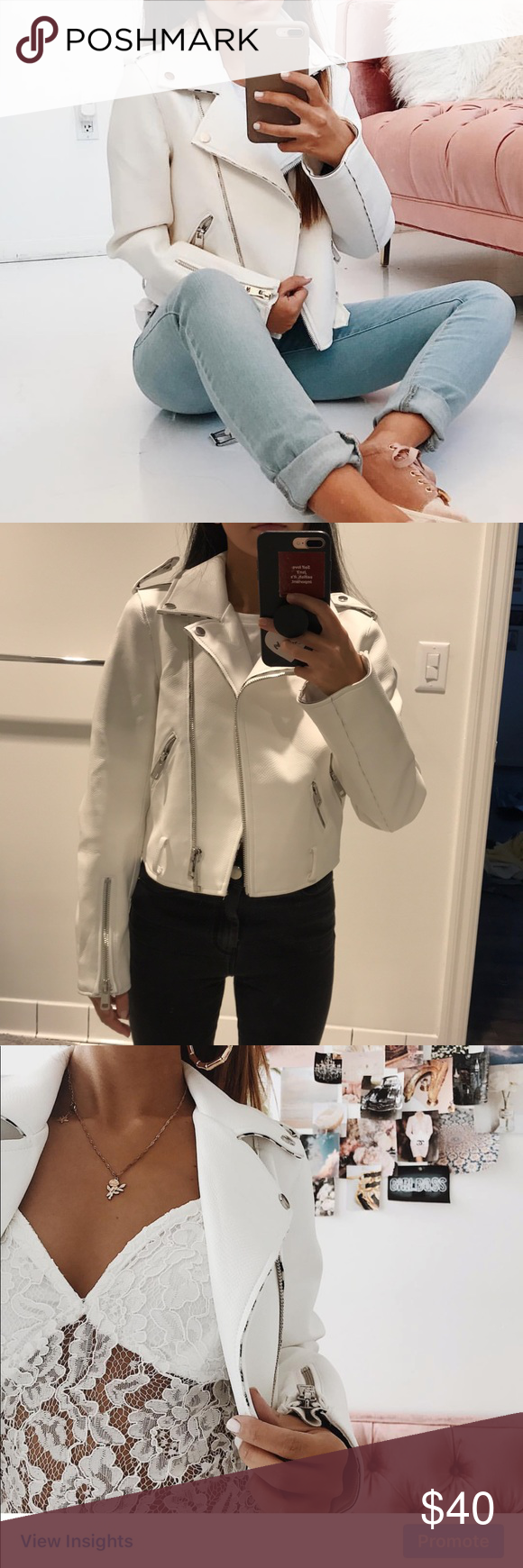 white faux leather jacket street wear/model vibes 💕💕 Zara