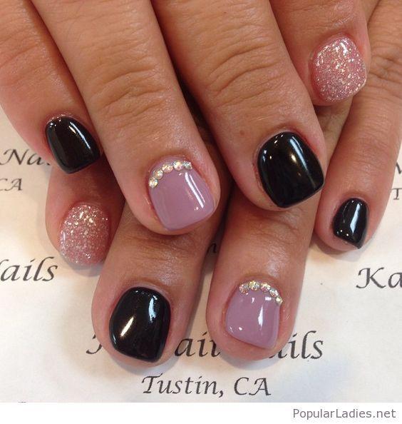 Short Gel Nails On Black And Ligh Purple Short Gel Nails Fall Acrylic Nails Short Acrylic Nails Designs