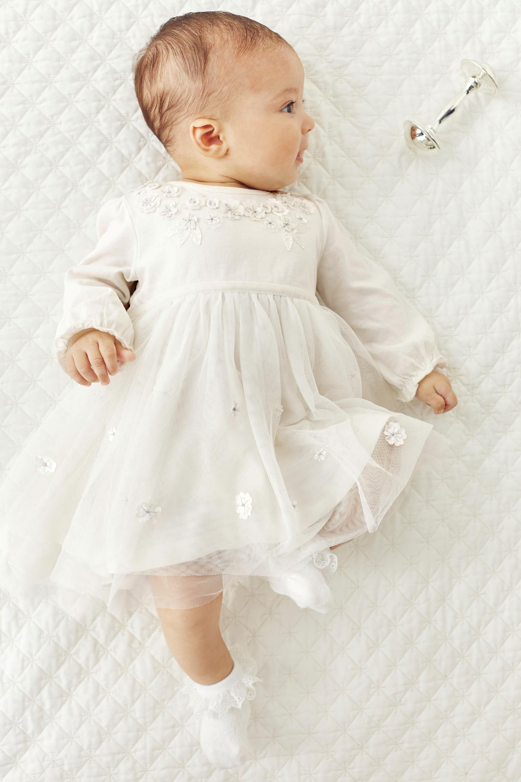 Buy Cream Flower Dress 0 18mths online today at Next Greece