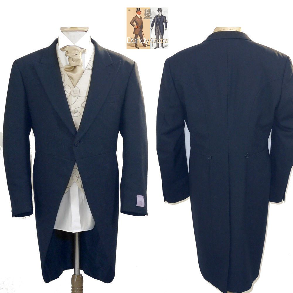 Men's unbranded midnight blue 100% wool tail morning coat
