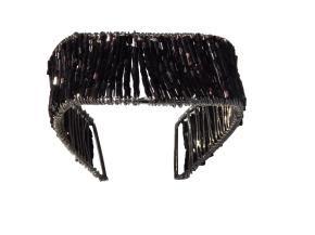 Black beaded steel cuff