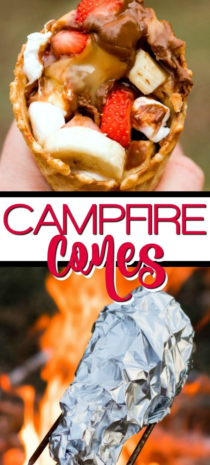 Campfire Cones are a great alternative to the messy s'mores and the perfect ca #grilleddesserts