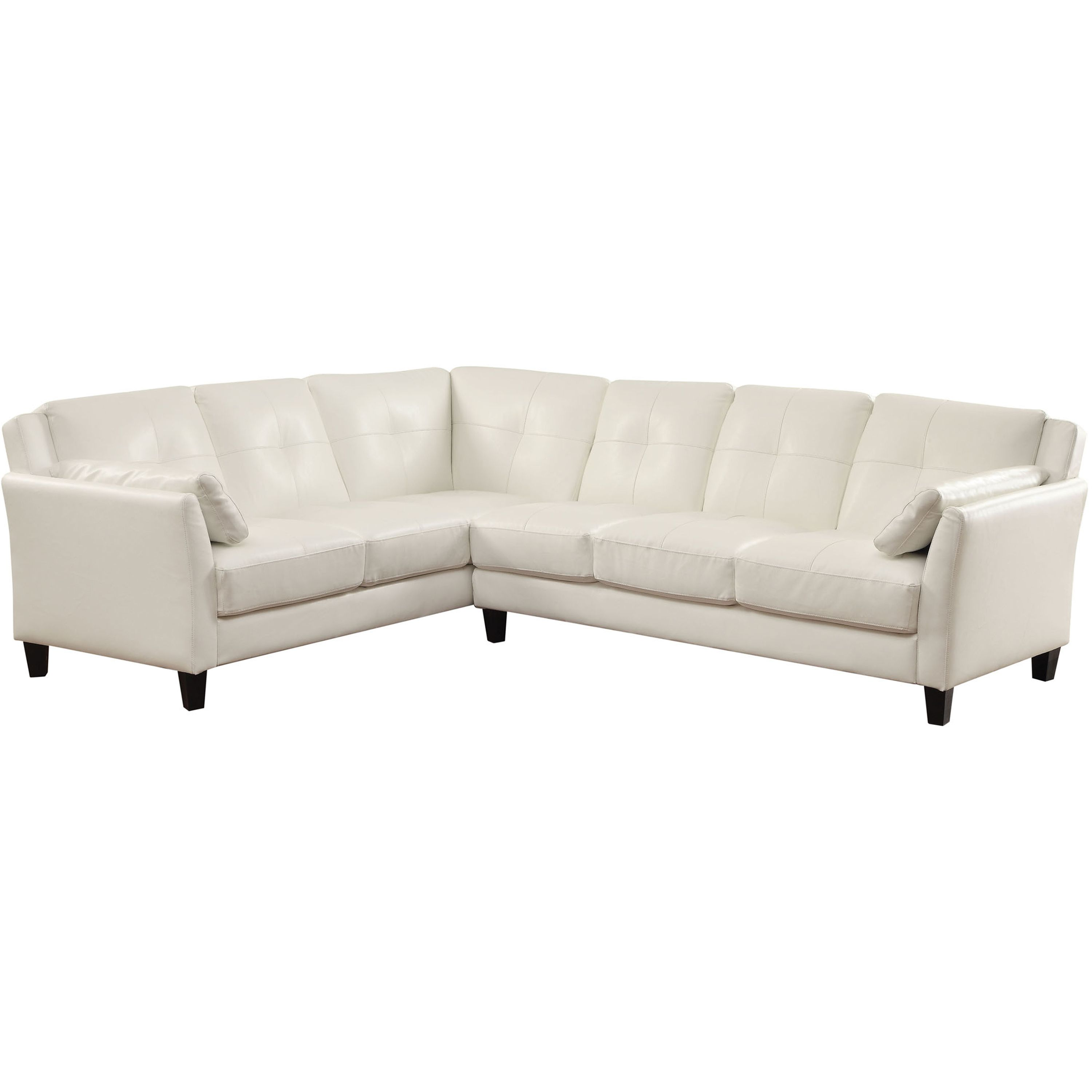 No matter if you are having friends over to watch a movie or just relaxing after work, the Santa Barbara sectional sofa from Venetian Worldwide will provide that extra comfort that you deserve. Upholstered in White Leatherette, this piece is a welcomed addition to any style décor. Pillows are included.