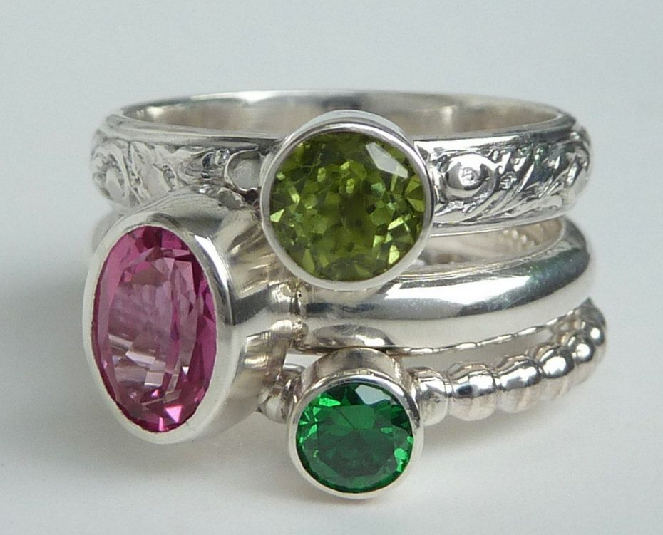 birthstone stacking rings set of 3 faceted gemstones