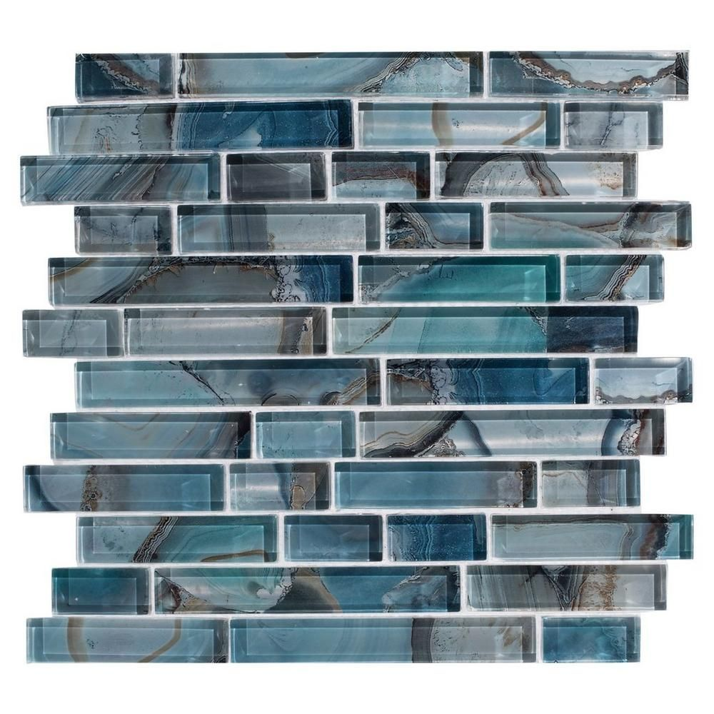 Kitchen Backsplash With Glass Tile Accents: Harbour Island Polished Linear Mosaic