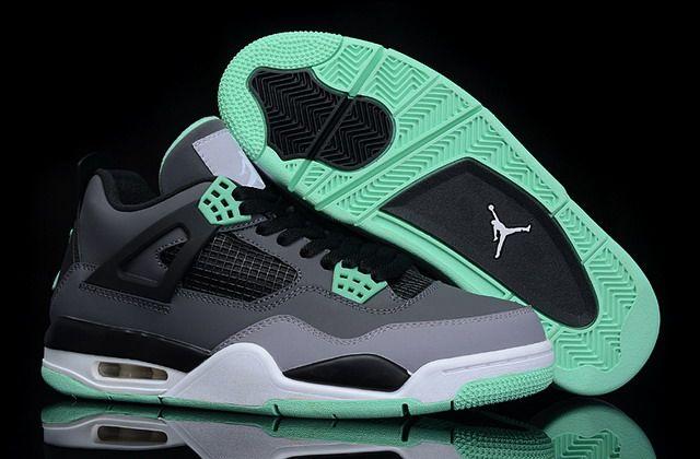 Nike Air Jordan 4 Retro Oregon Mens Shoes Grey / Black / Green http:/