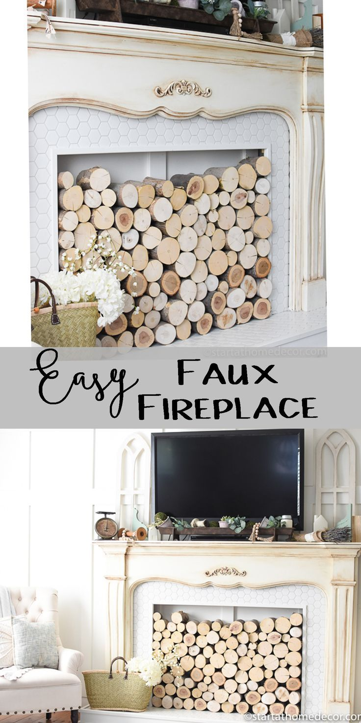 Easy diy faux fireplace fireplace ideas pinterest faux