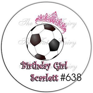 Soccer Sport Ball Round Thank you Birthday stickers Name AGE Party Favor Labels