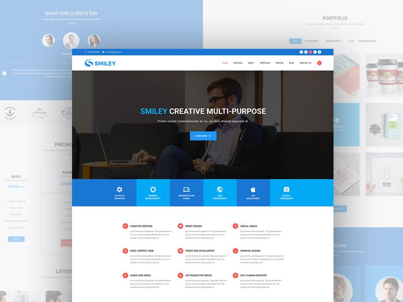 Smiley is an elegant and modern material design website template - price chart template