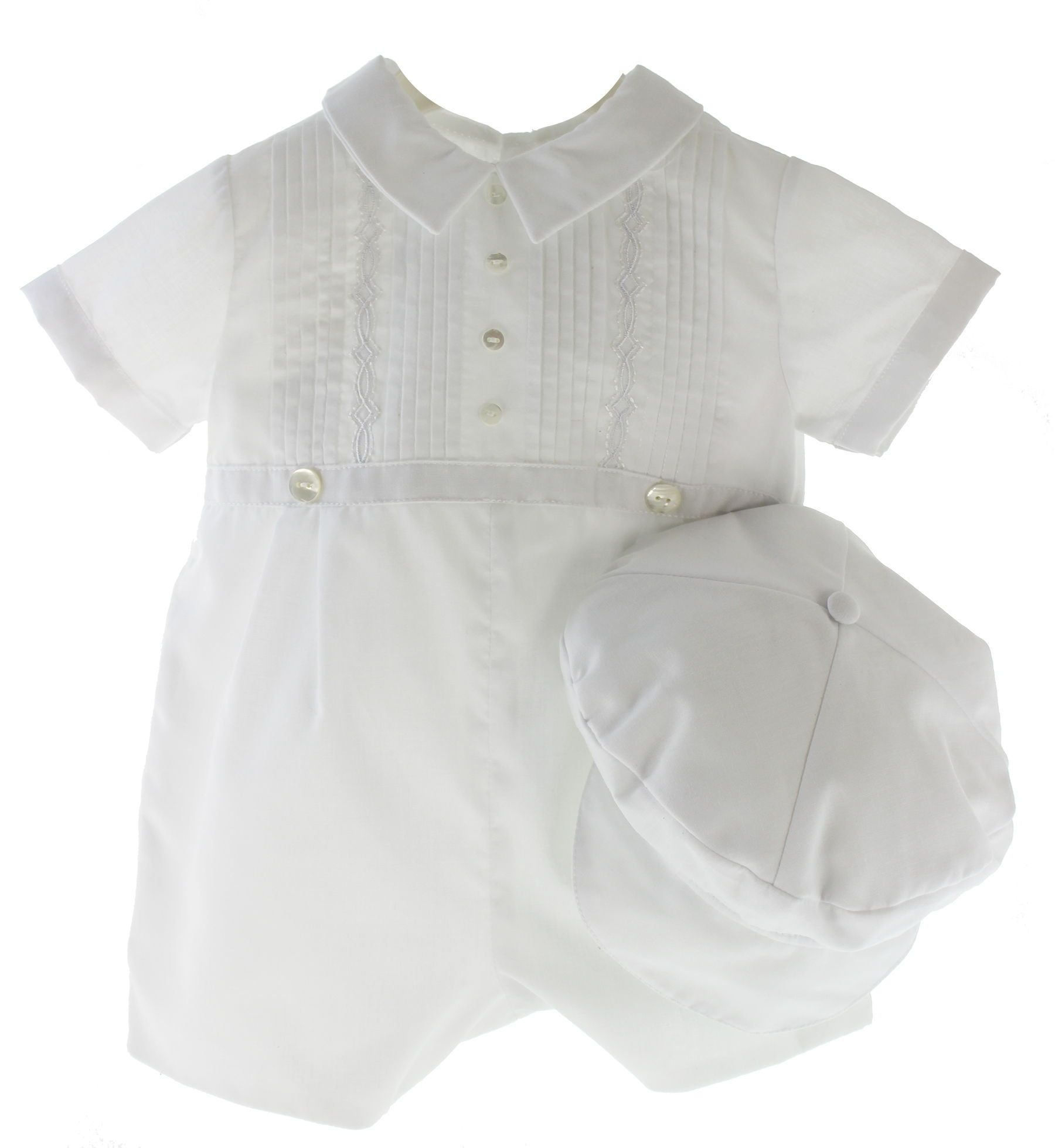 Sarah Louise Baby Boys White Special Occasion Outfit & Hat Set