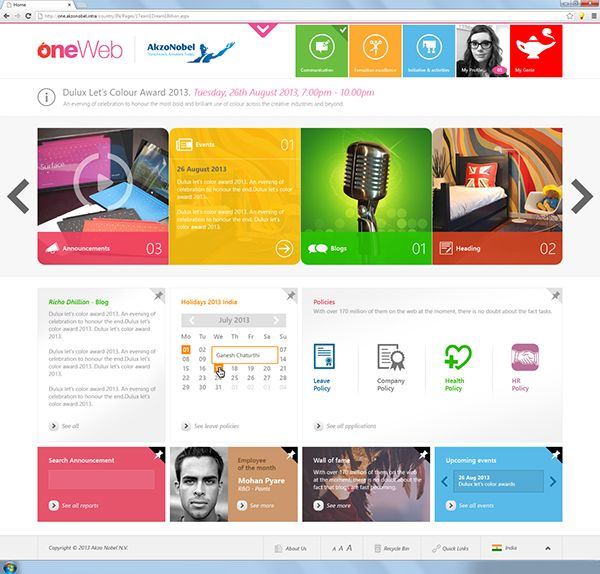 Homepage Web Design Tips: SharePoint Intranet On Behance