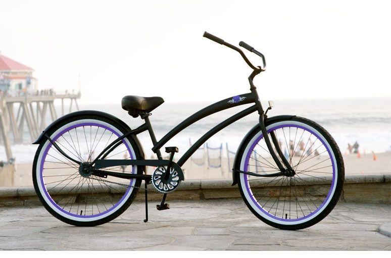 Skull X Bones Womens Beach Cruiser Bike Flat Black Purple Beach Cruiser Beach Cruiser Bike Cruiser Bike