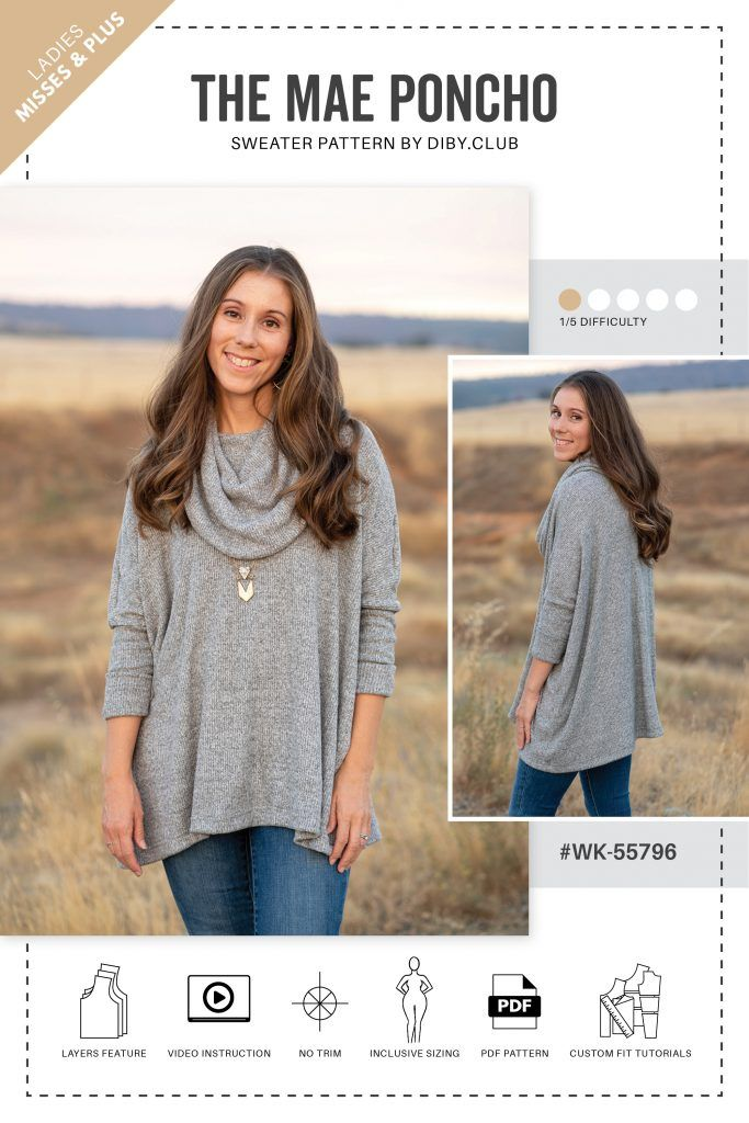 The Mae Poncho Sweater PDF Sewing Pattern | DIBY Club