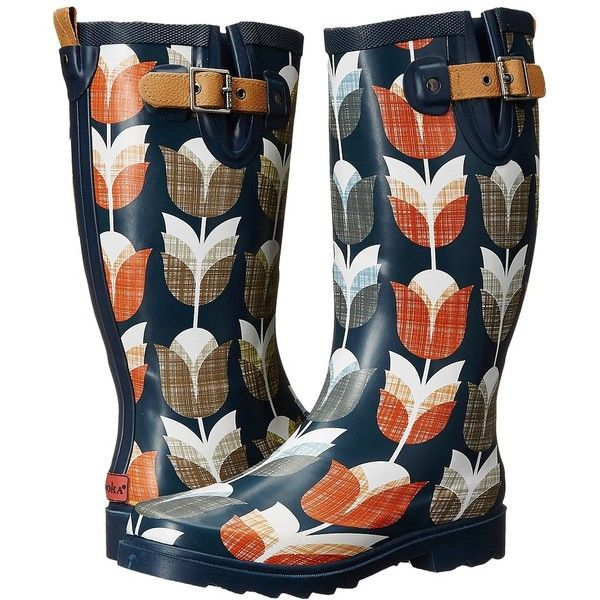 Chooka Vintage Tulip Women's Rain Boots (£50) ❤ liked on Polyvore featuring shoes, boots, wellington boots, rubber sole boots, wellies rubber boots, vintage shoes and wellies boots