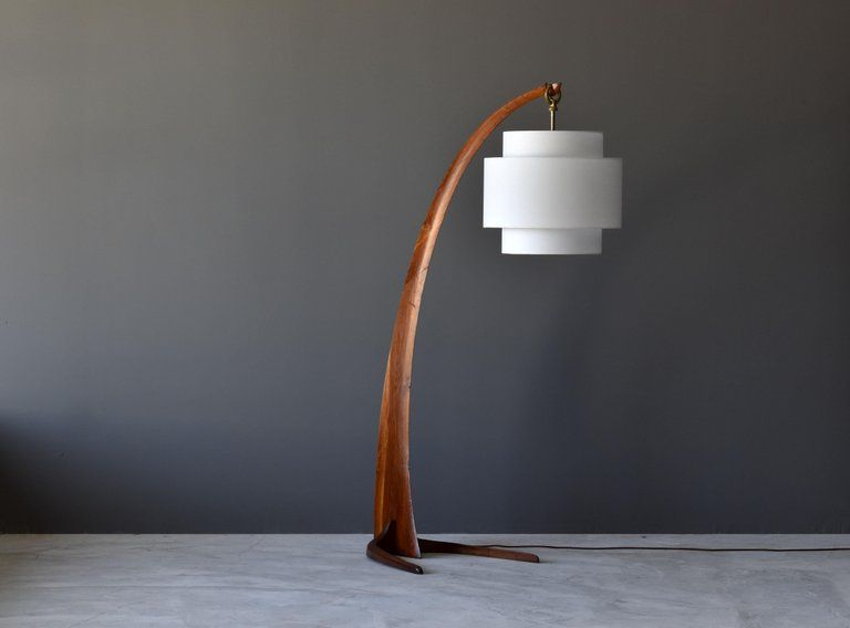 Large Modernist Curved Floor Lamp Walnut Brass Fabric Italy 1940s Ken S Diy Things I Ll Make Someday In 2019 Curved Floor Lamp Brass Floor Lamp Floor Lamp