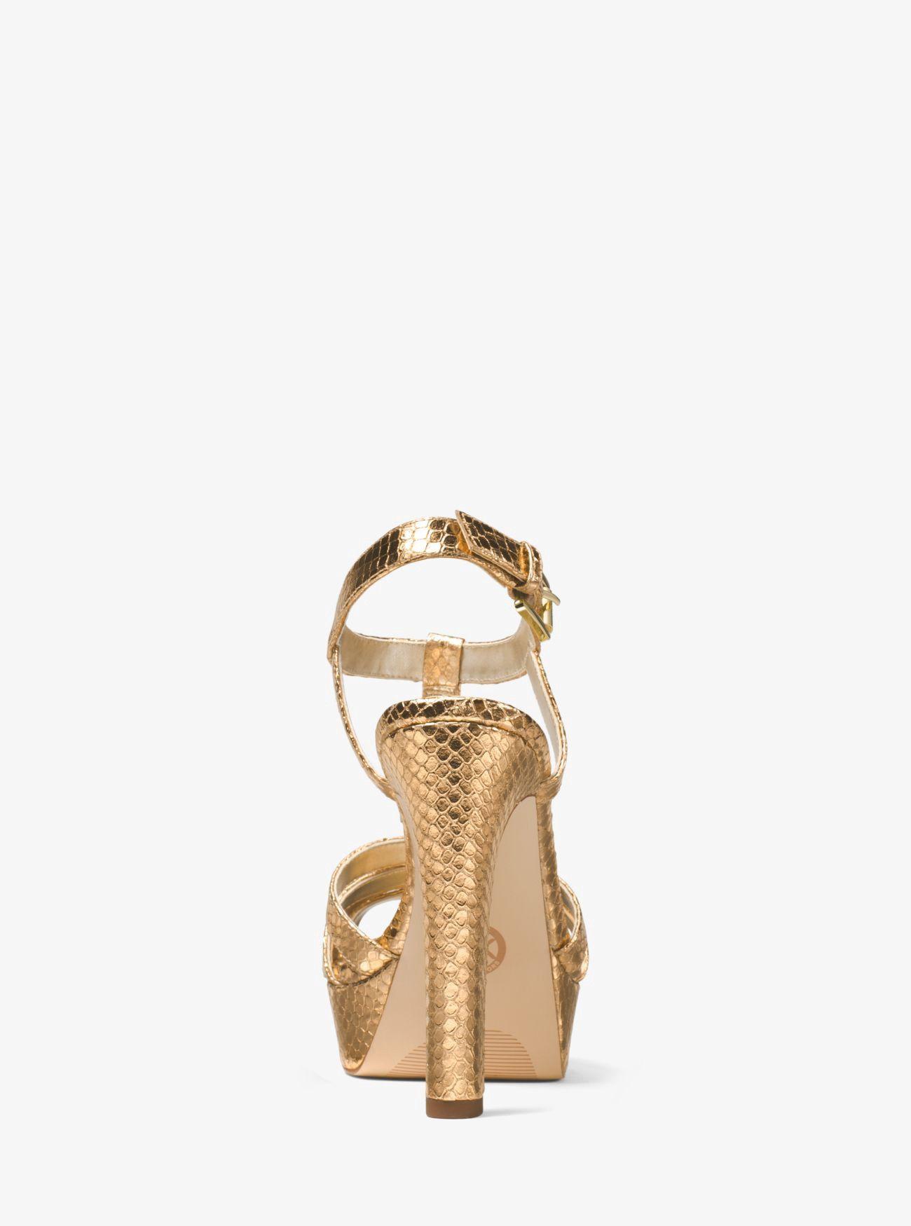 0552d760481 Michael Kors Catalina Metallic Embossed-Leather Sandal - Silver 9.5