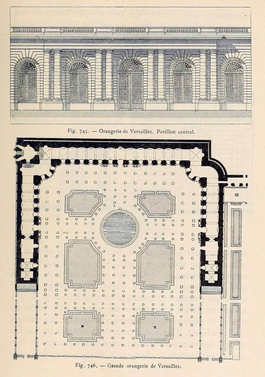 Elevation D Un Plan Archi : Elevation section and plan of the orangerie versailles