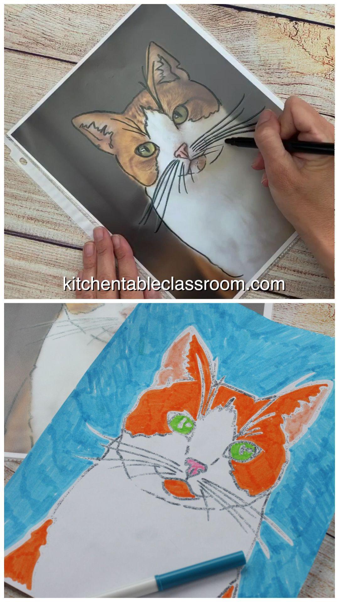 Pet Portraits- Bold Marker Prints – The Kitchen Table Classroom – art for kids