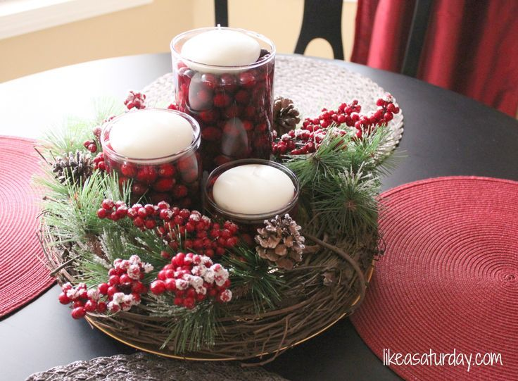 Christmas Floating Candle Centerpieces Found On Likeasaturday Com Christmas Centerpieces Diy Diy Christmas Table Christmas Centerpieces