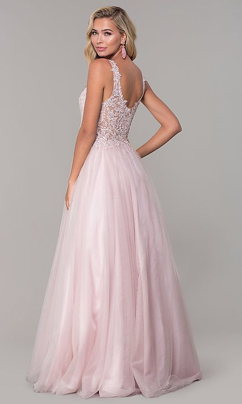 Long Tulle V-Neck Dusty Pink Prom Dress - PromGirl f3fcb5429