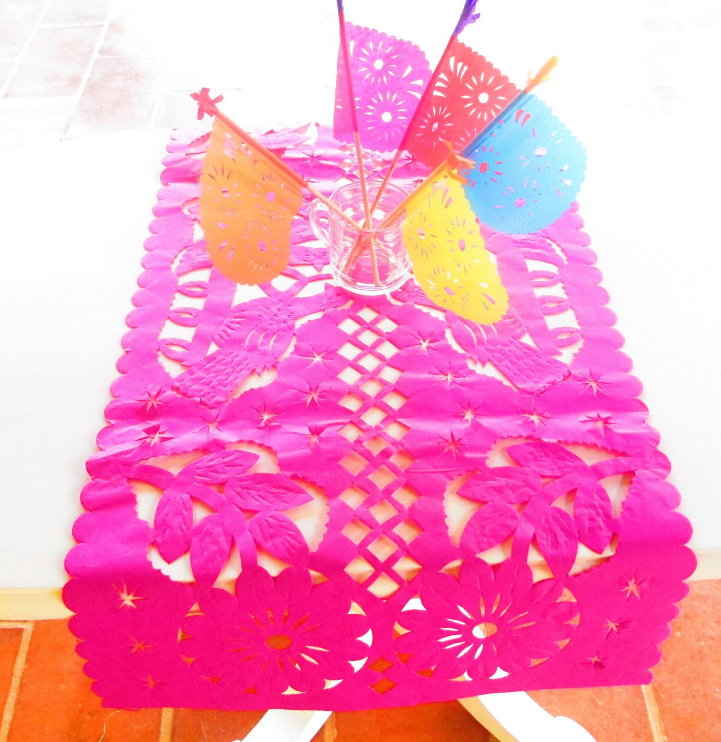 Mexican Wedding Decoration, Pink Table Runner, Papel Picado, Fiesta Party, Mexican  Style