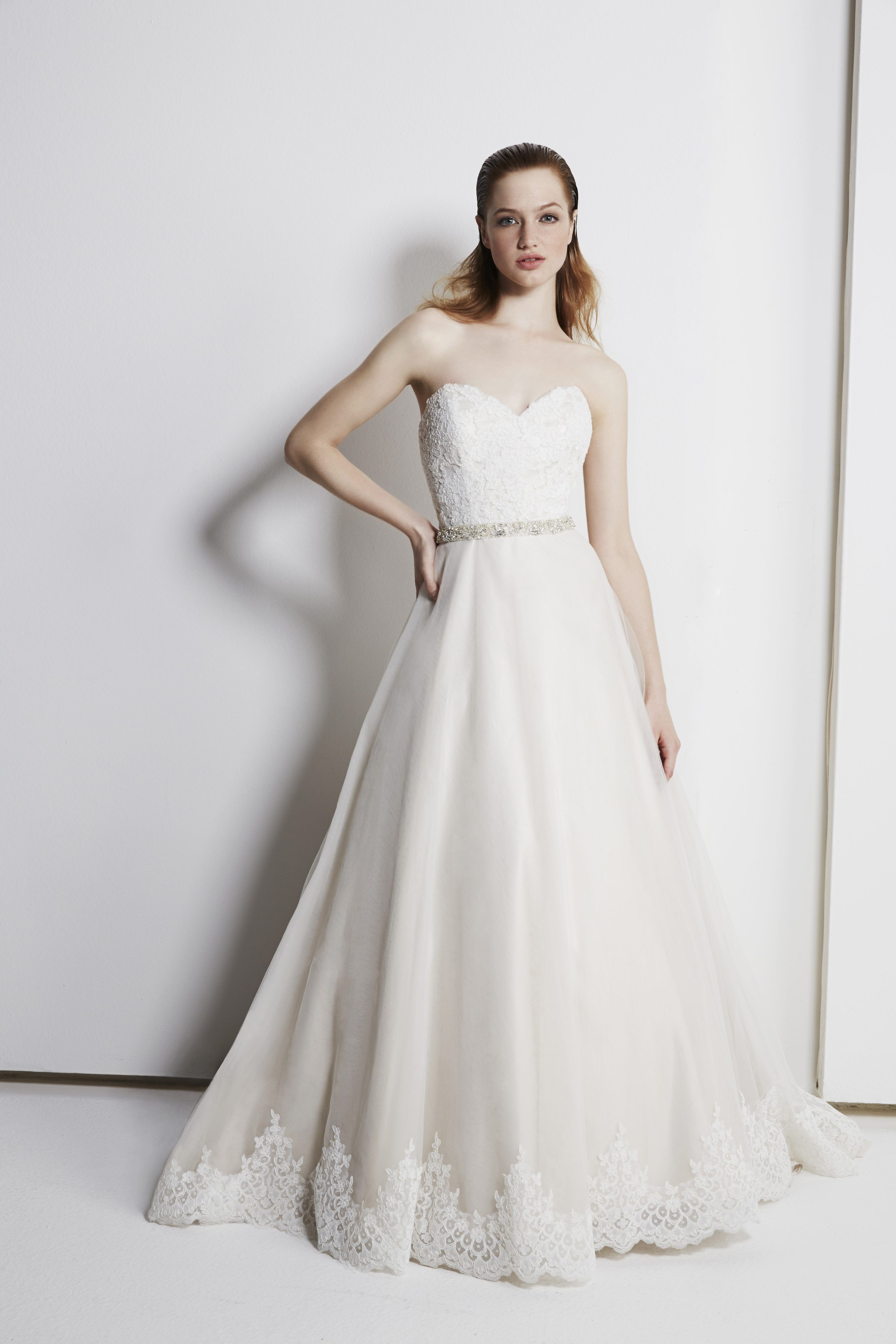 Pearl belt for wedding dress  Sweetheart strapless Aline gown with lace skirt detail and beaded