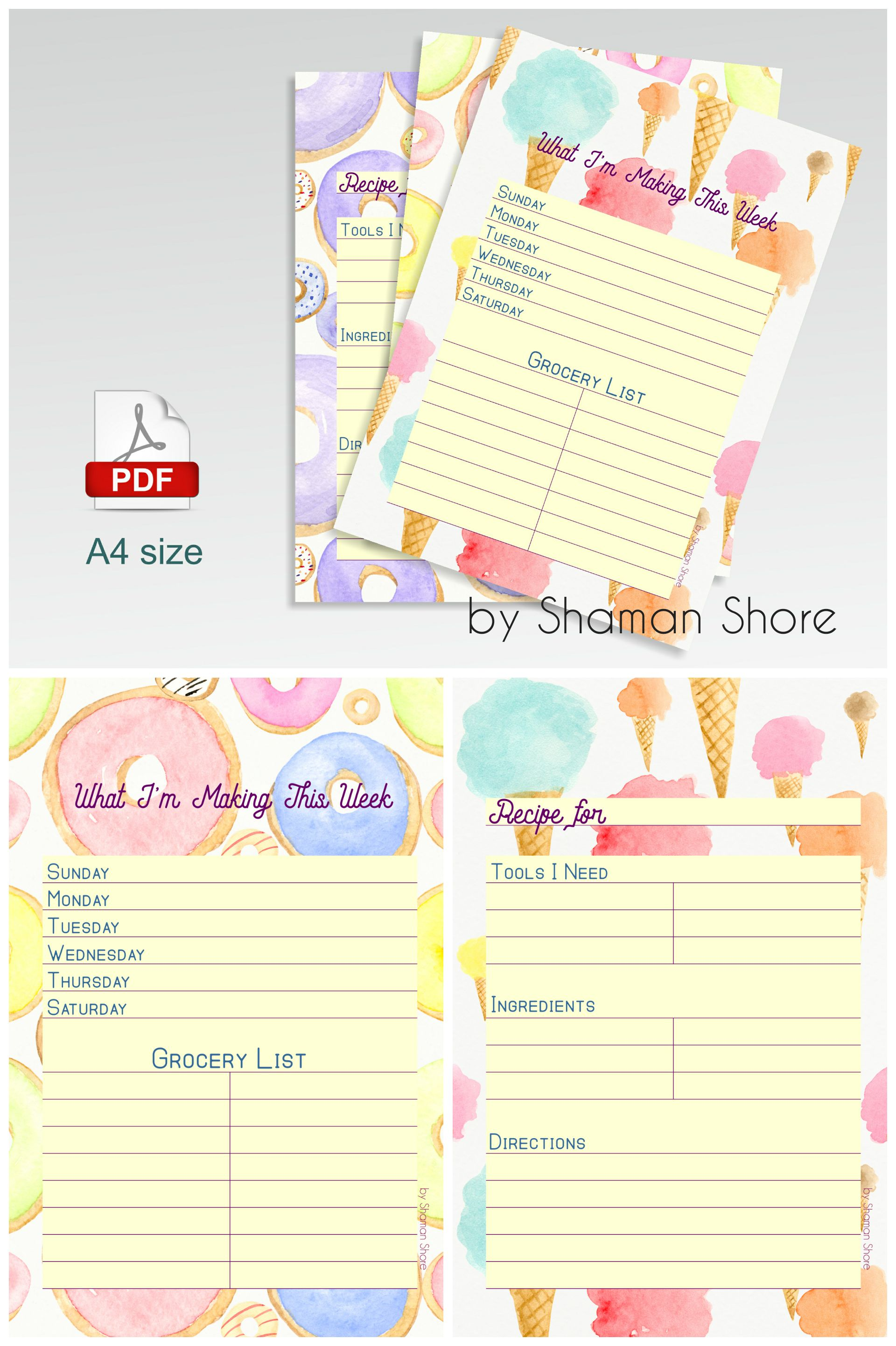 Blank Recipe Cards For Kids Recipe Template For Kids Meal Planner