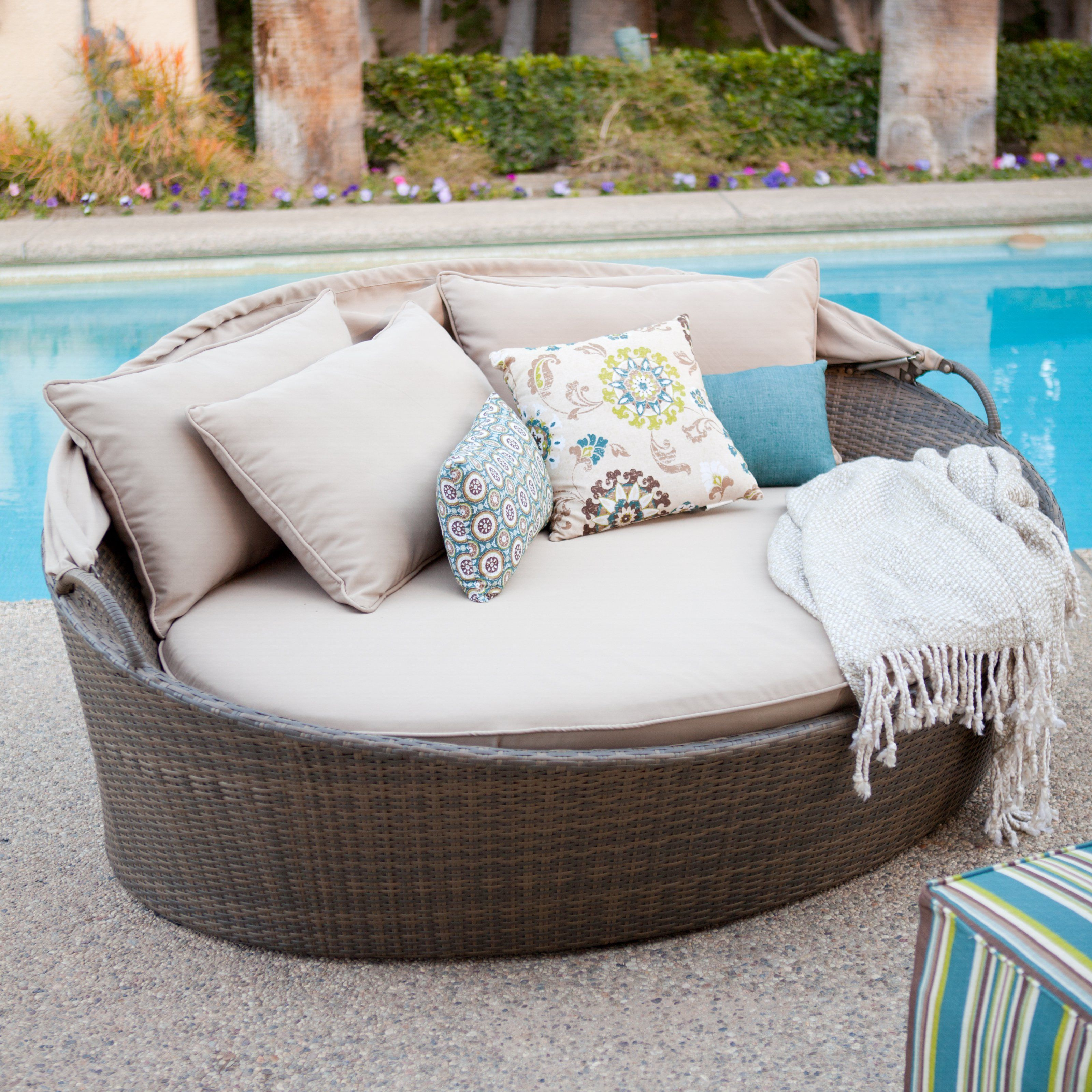 Outdoor bed cabana - Coral Coast Moorea All Weather Wicker Cabana Day Bed With