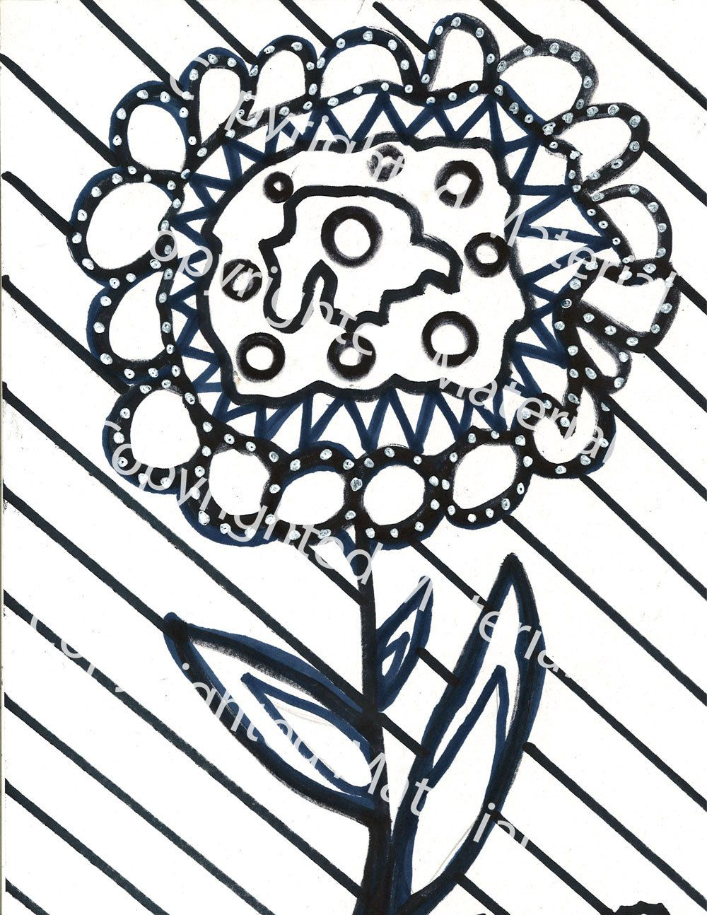 No. 35 – Hand Drawn Marker Art in Black and White Coloring Page by ...