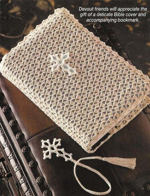 X279 Crochet PATTERN ONLY Lovely Bible Cover and by BeadedBundles, $7.95