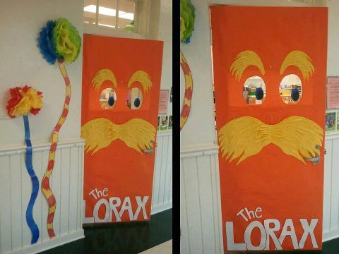 Dr Seuss Classroom Door Ideas | Easter Home Decorations On The Lorax Dr  Seuss Door Decoration