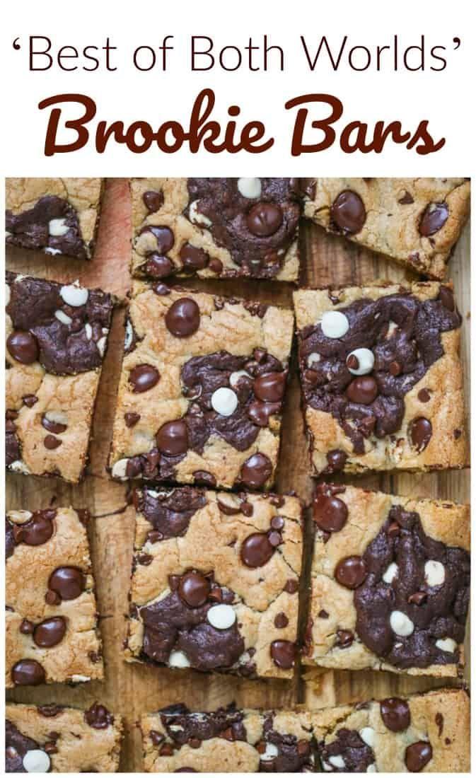 Best of Both World Brookie Bars = Cookie Brownie Bars #bakesaleideas