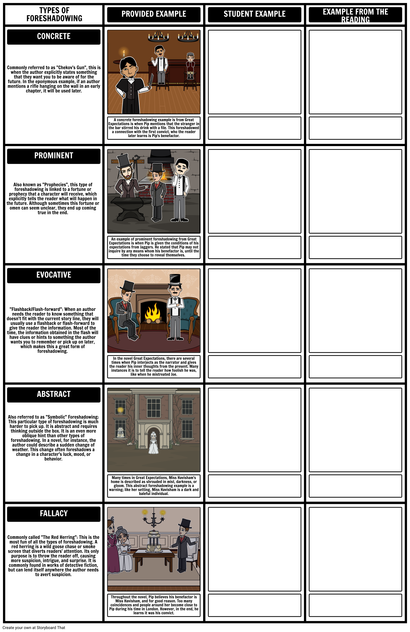 small resolution of Foreshadowing Examples  Types of Foreshadowing Worksheet \u0026 Template    Graphic organizer template