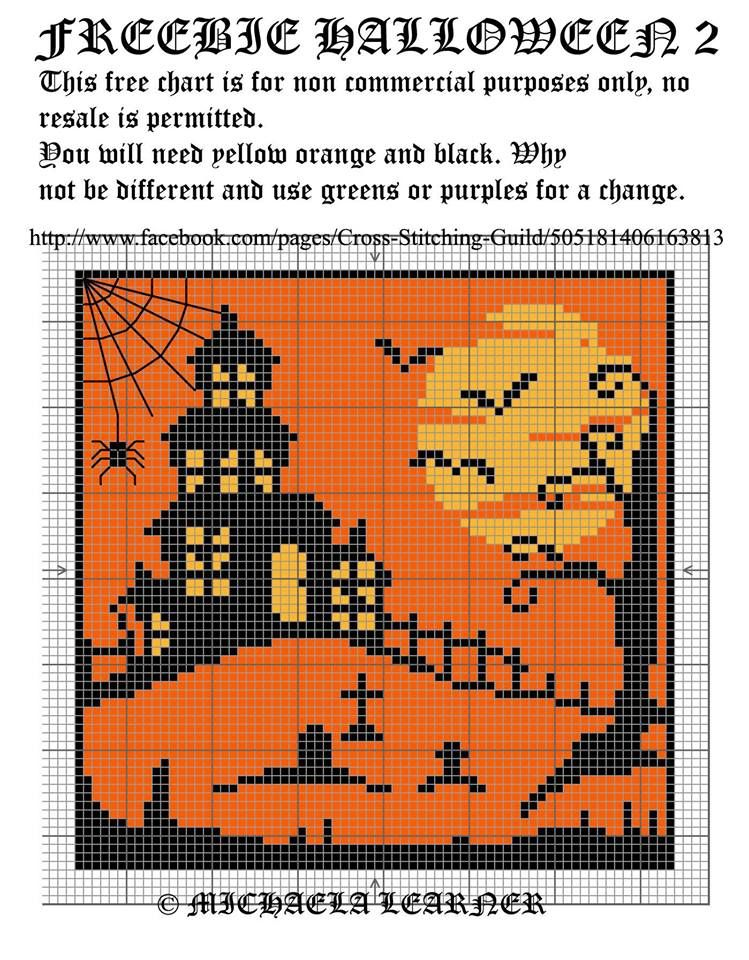 Halloween (no color chart available, just use photo/pattern chart as your stitch/color guide... or choose your own colors)
