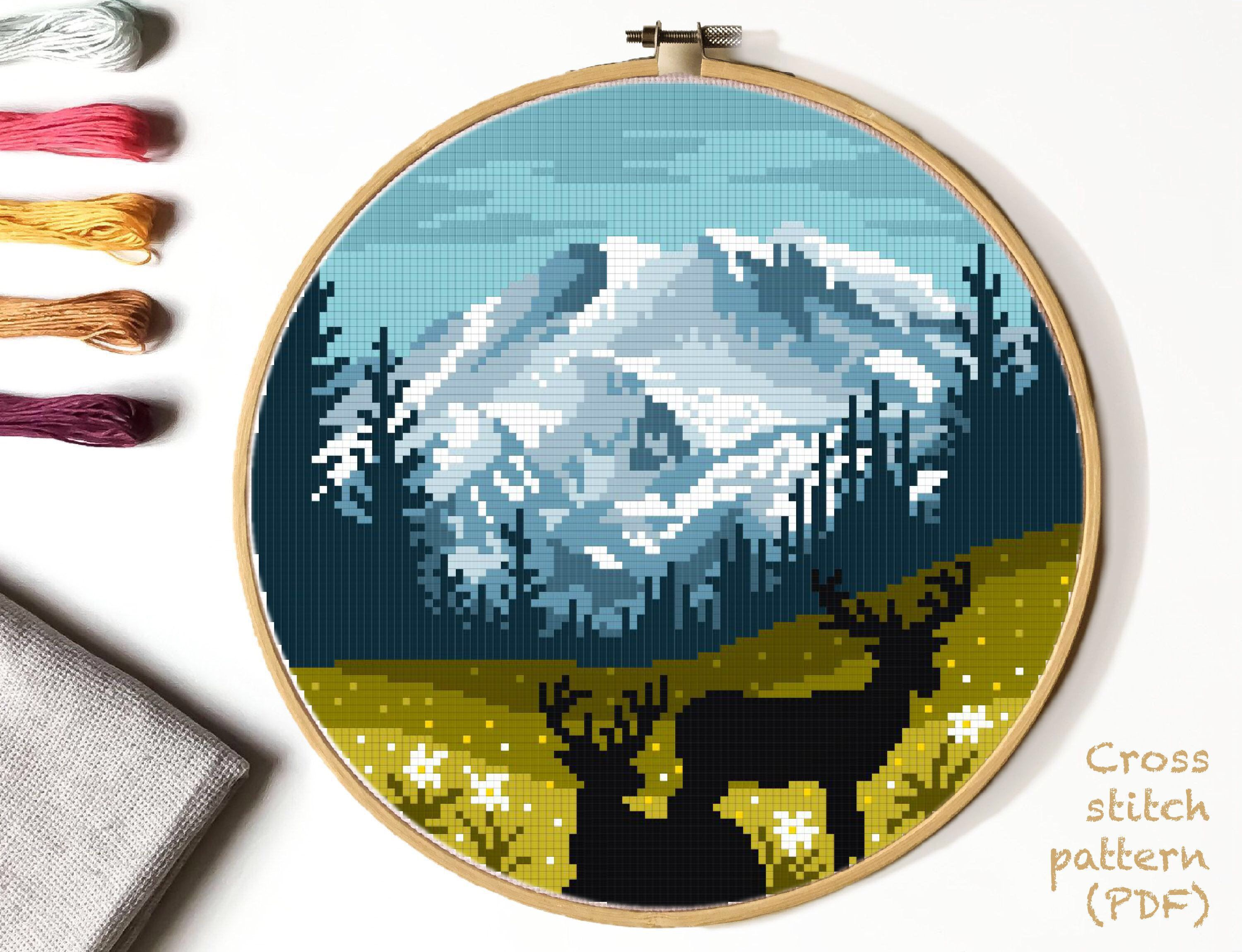 Landscape Modern Cross Stitch Pattern, nature counted cross stitch chart, Mount Rainier national park, deer, mountains, forest, instant PDF